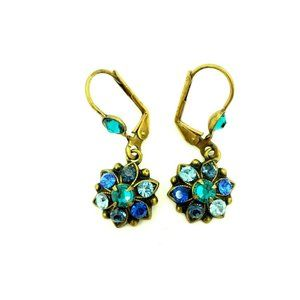 Michal Negrin Blue Rhinestone Pierced Earrings Lev